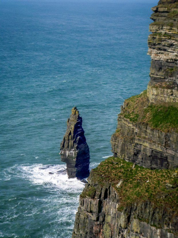 The sea stack at the foot of Ireland's Cliffs of Moher