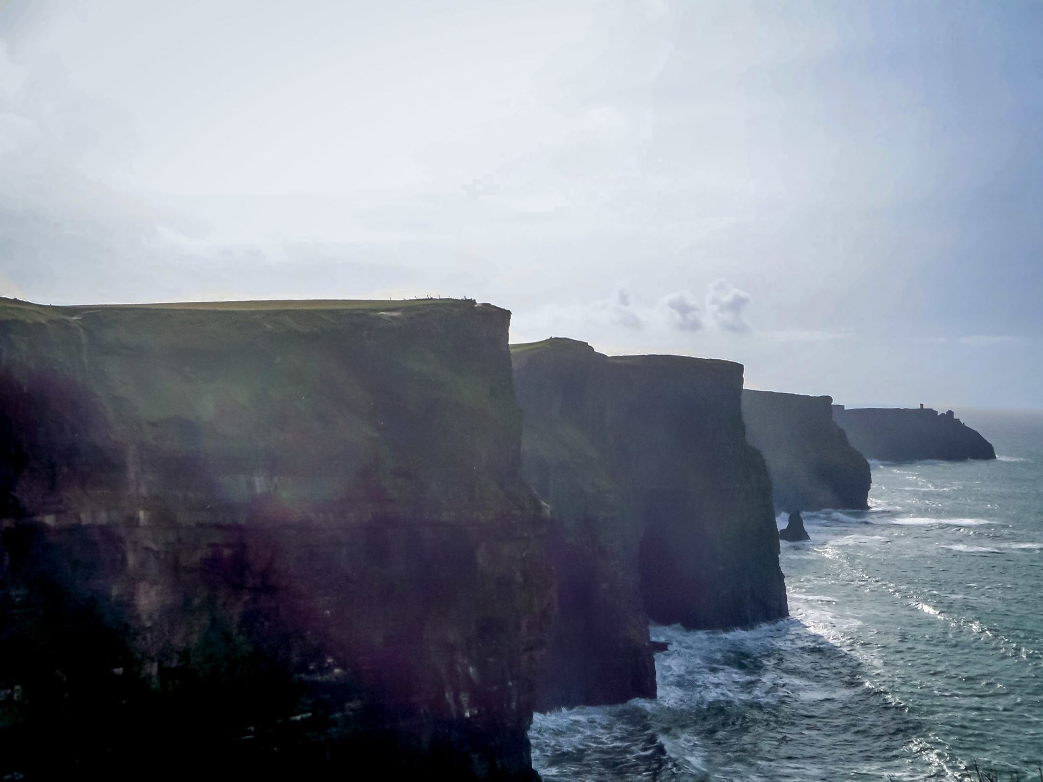 The undulating Cliffs of Moher drop straight into the ocean on Ireland's west coast