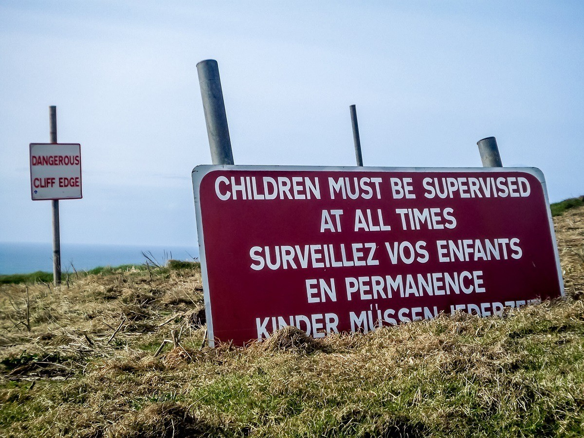 Warning sign at Ireland's Cliffs of Moher