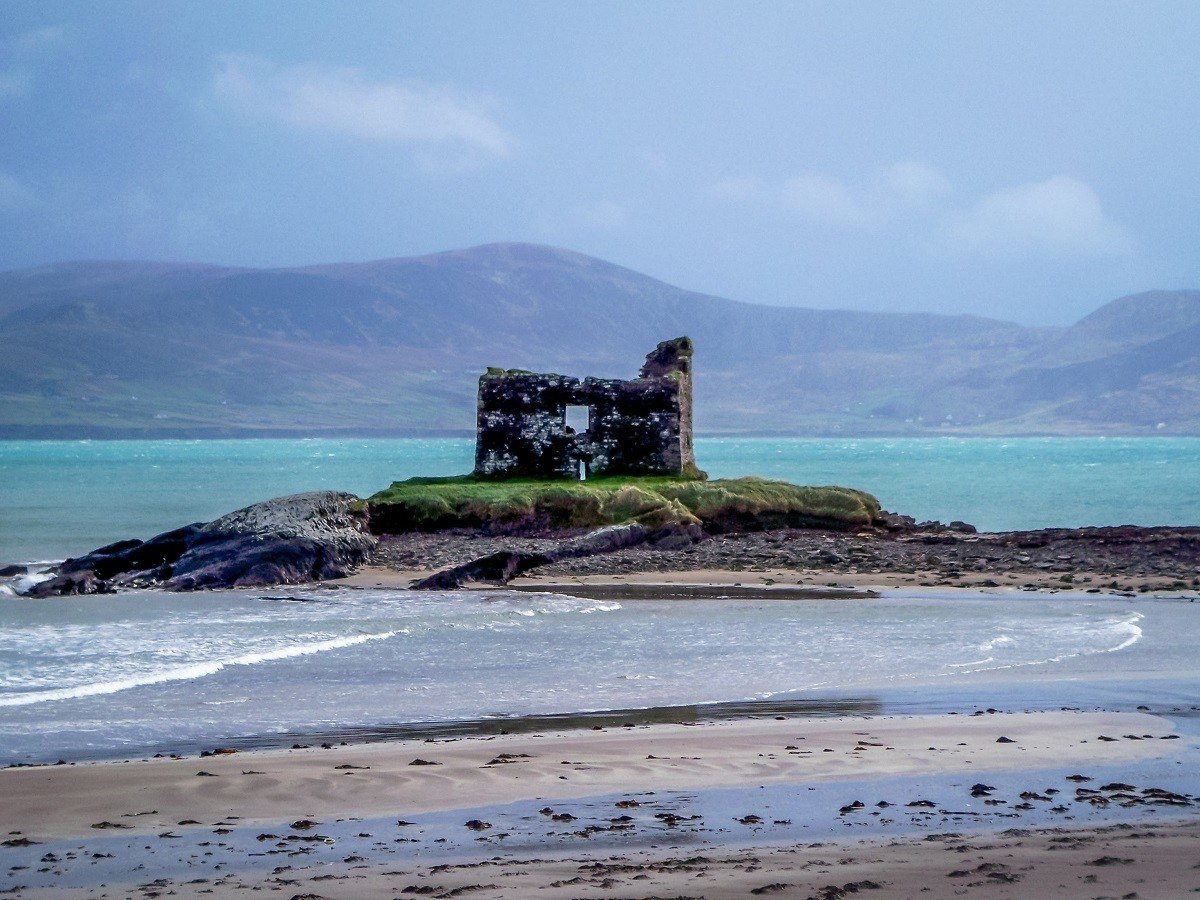 House ruins on small island just off the coast in Ireland