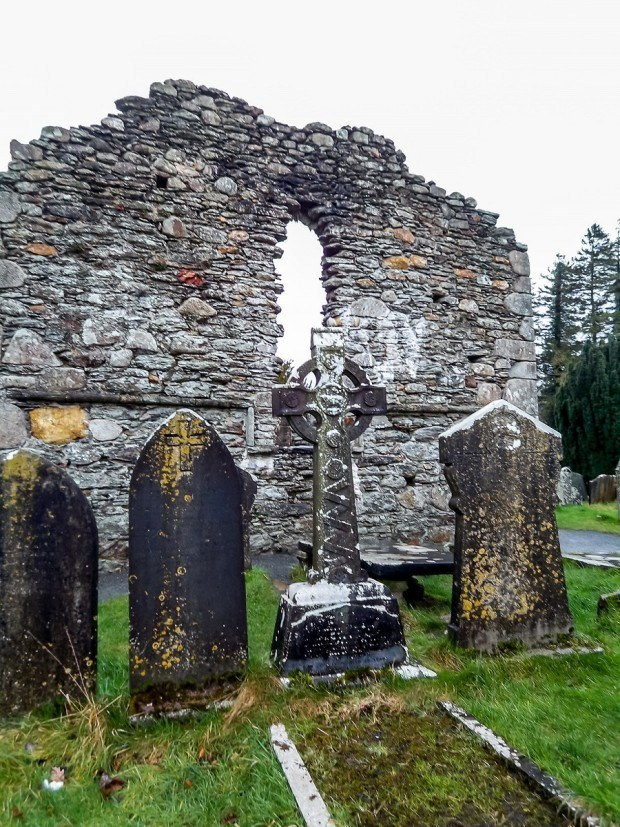 Ruins and cemetery at Glendalough monastery in eastern Ireland.