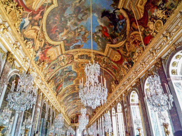 The ceiling in the Hall of Mirrors at Versailles, France.