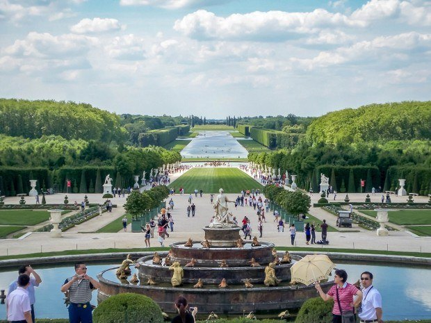 The vast Versailles gardens and Grand Canal, as viewed from the chateau.