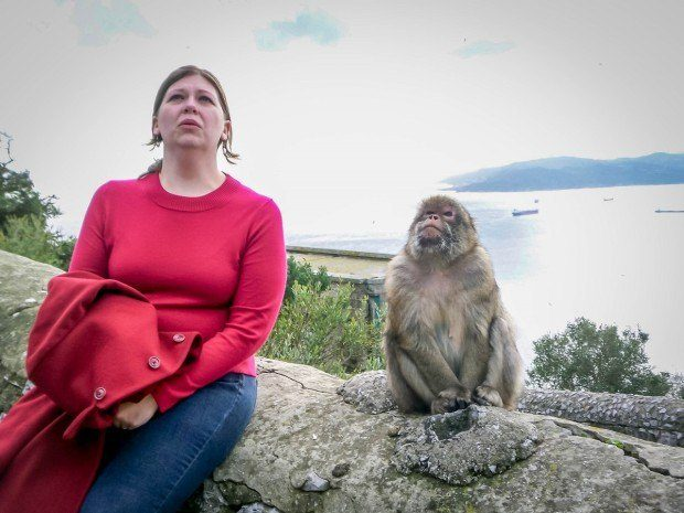 Laura and one of the Gibraltar monkeys.
