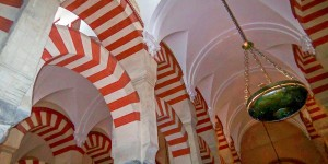 The candy cane stripes inside the La Mezquita Cordoba.