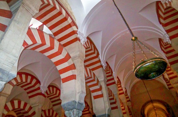 The candy cane stripes inside the La Mezquita Cordoba.