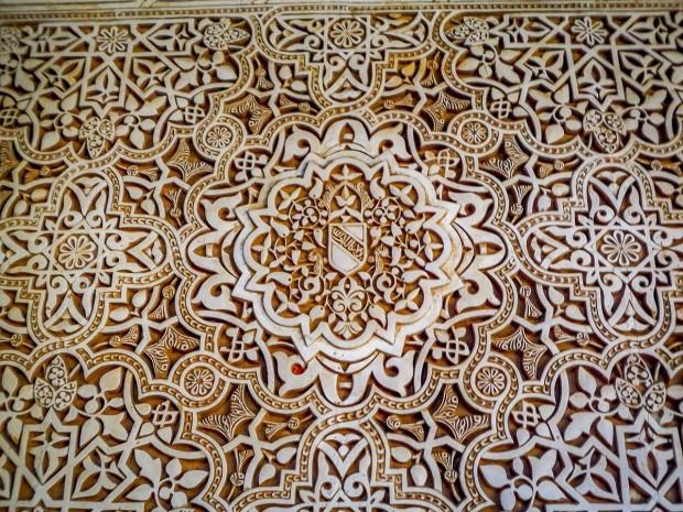 Carvings at the Alhambra in Granada, Spain