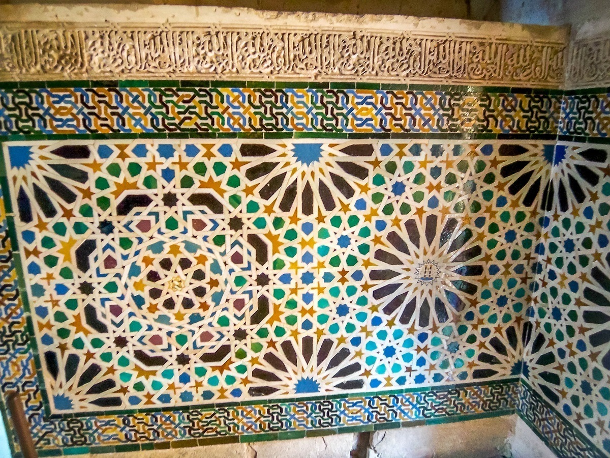 Tile work inside the Alhambra in Granada, Spain