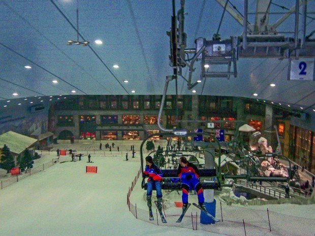 The view from the chairlift on the way to the top of Ski Dubai.