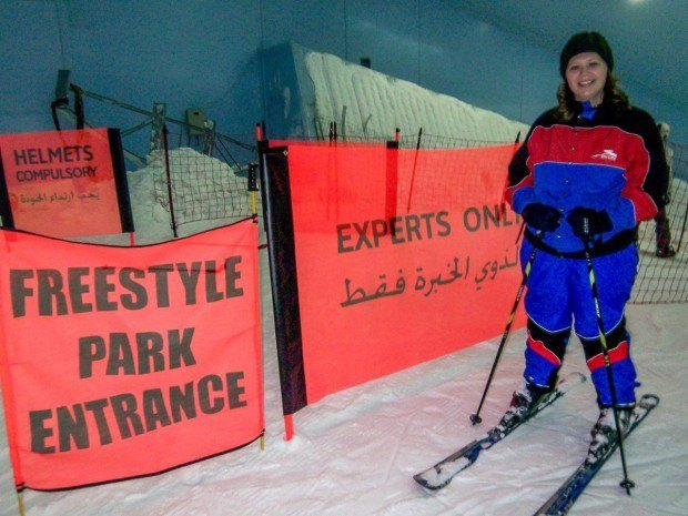 Laura at the top of the slopes of Ski Dubai in the Mall of the Emirates.