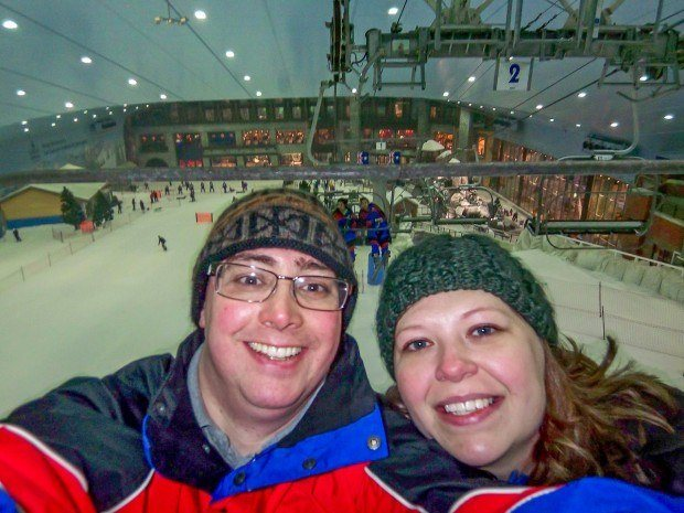 A chairlift selfie at Ski Dubai.