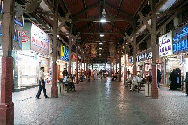The shops of the Dubai gold souk.