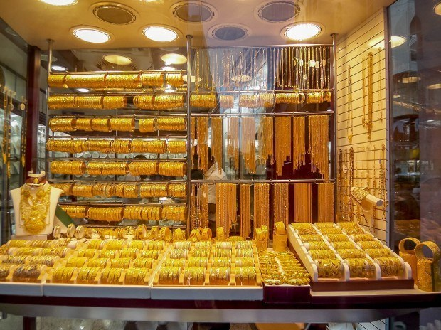 The gold filled windows of the Dubai gold souk.