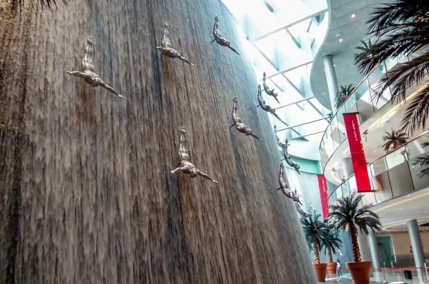 The massive fountain inside the Dubai Mall.