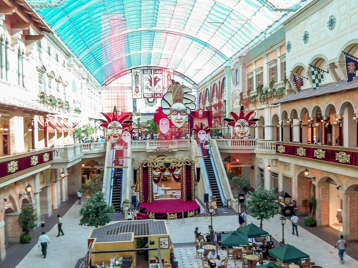 The Mediterranean-inspired Mercato Mall caters to locals with a grocery store and a movie theater.