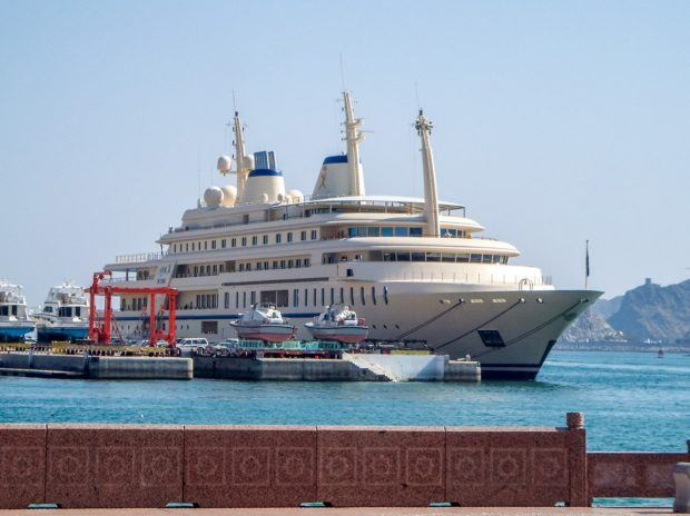 A mega-yacht in the Muttrah Harbor of Muscat, Oman.