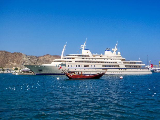 The Sultan's yacht, as viewed from the Muttrah Corniche in Muscat Harbor.  Walking the corniche is one of the great Muscat things to do.