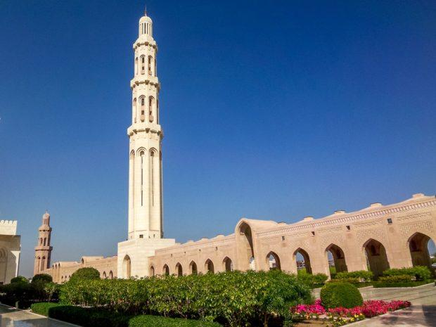 The minaret of the Grand Mosque in Muscat, Oman