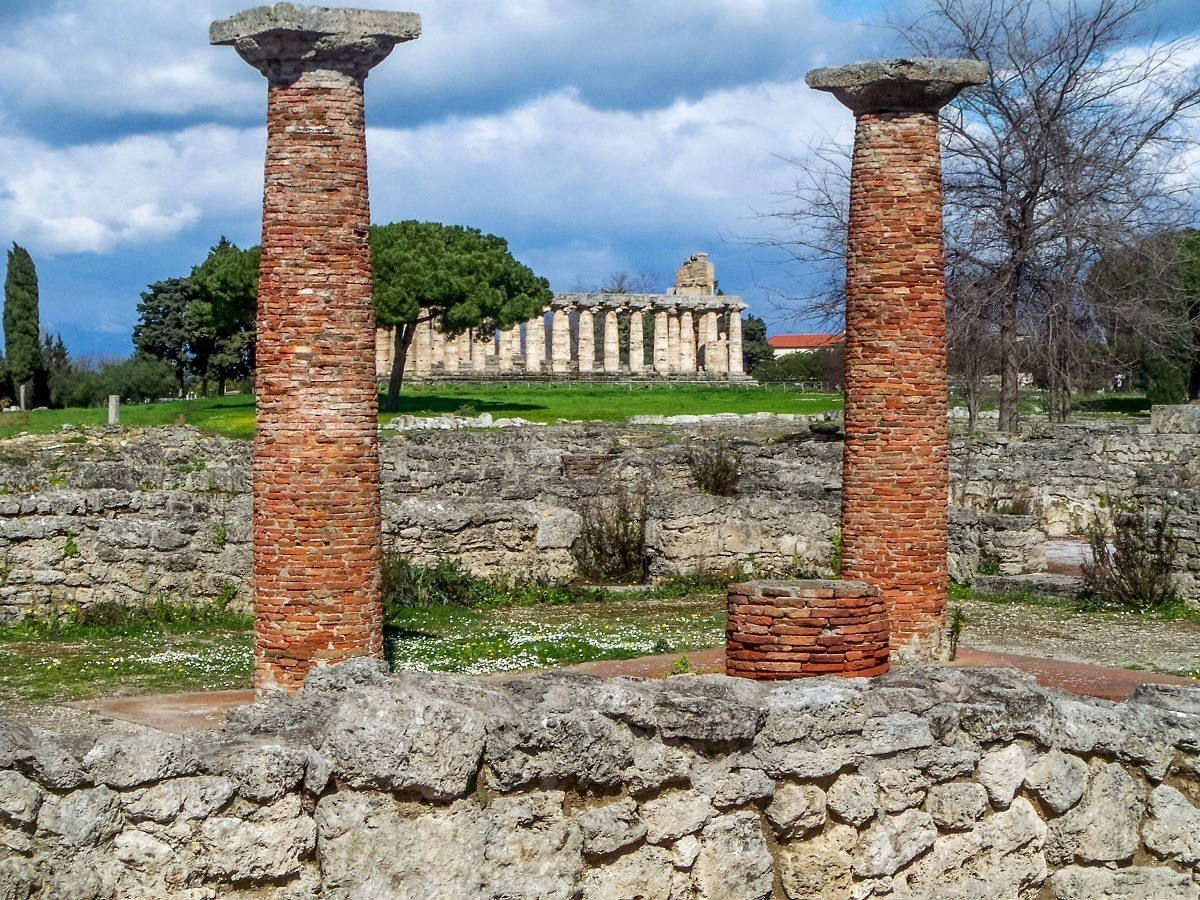 Columns of ancient Greek ruins of Paestum in Italy