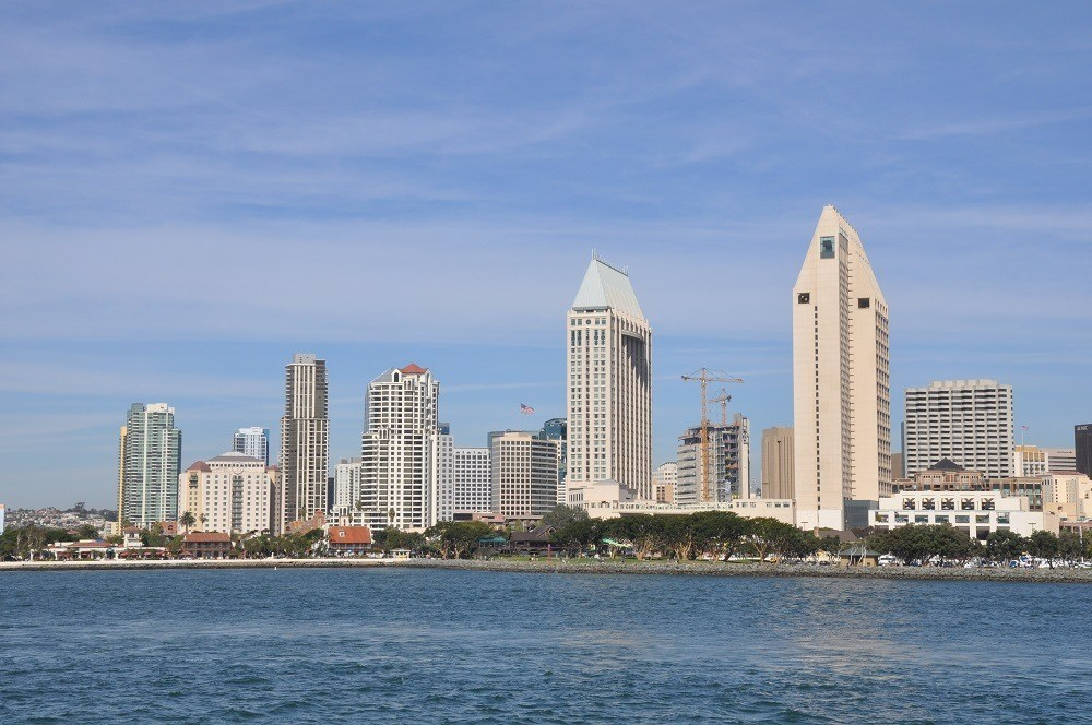 Skyline of San Diego from a harbor cruise