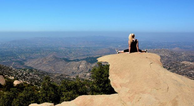 View from Potato Chip Rock on Mt Woodson above Lake Poway.  This is a popular San Diego hike and offers incredible views of San Diego County.