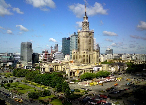 A view of the Palace of Culture and Science (PKiN) in Warsaw, Poland.