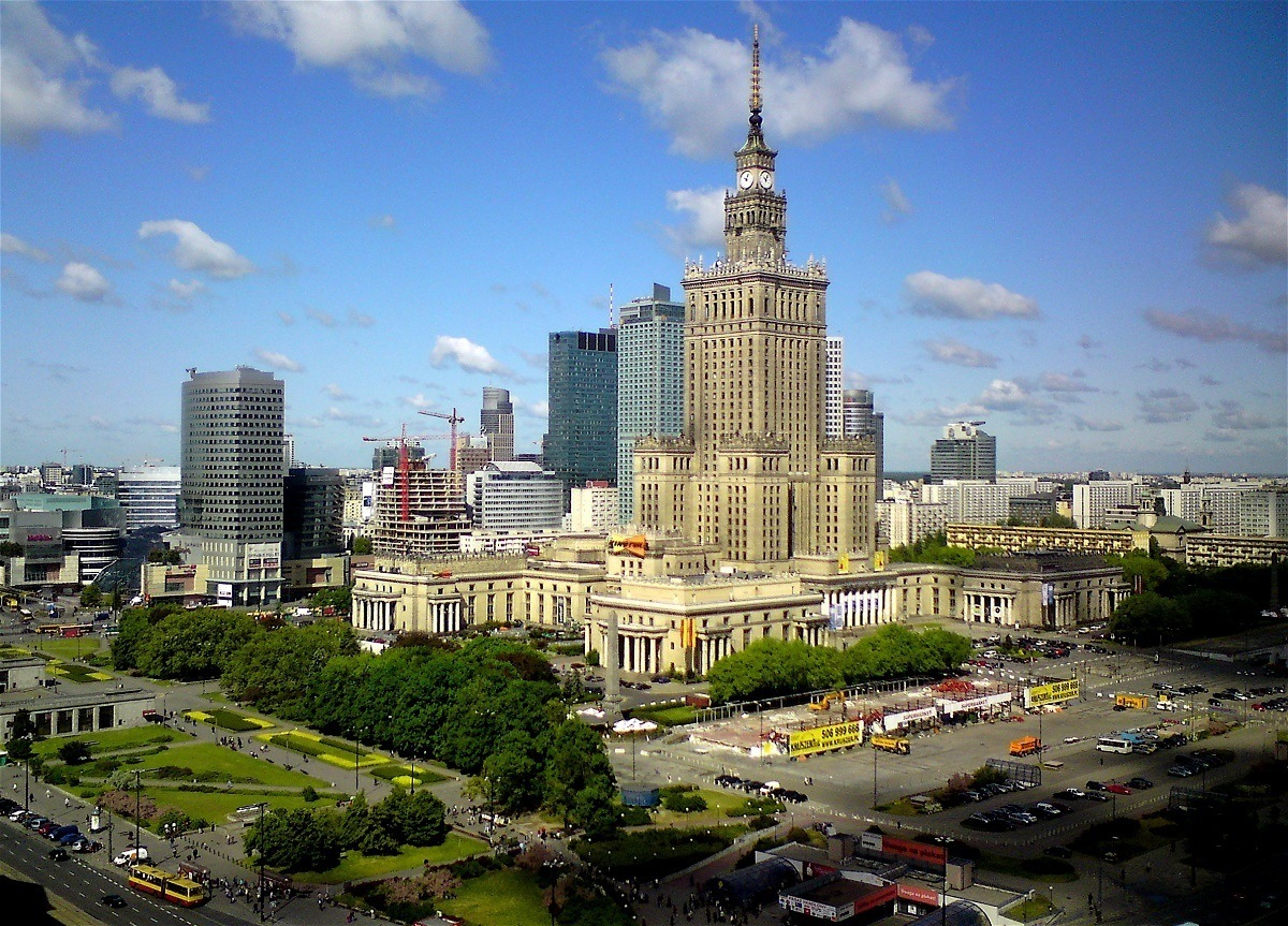 View of the Warsaw skyline, including the PKiN