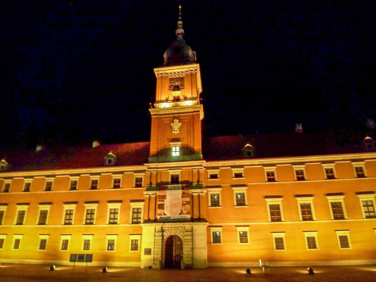 The Royal Castle in Warsaw at night