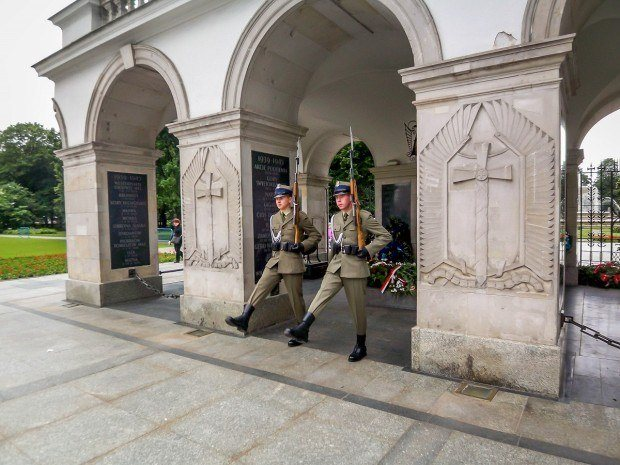 Changing of the guard at the Tomb of the Unknown Soldier in Warsaw, Poland.