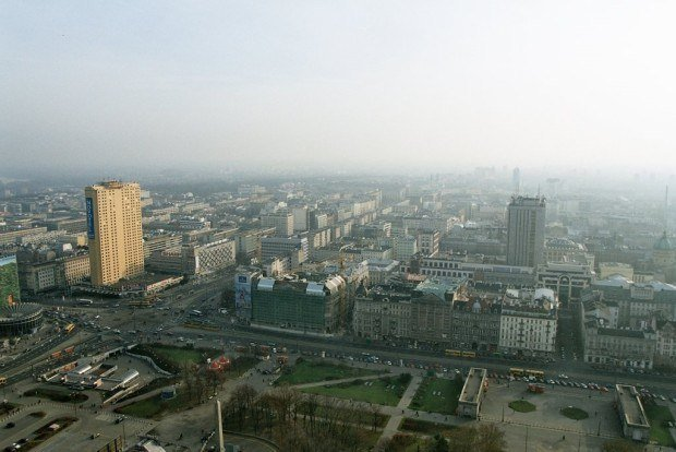 The view from the Viewing Terrace at the Palace of Culture and Science in Warsaw, Poland.