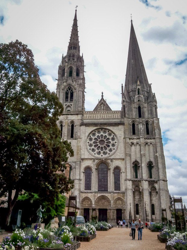 The imposing facade of Chartres Cathedral in France