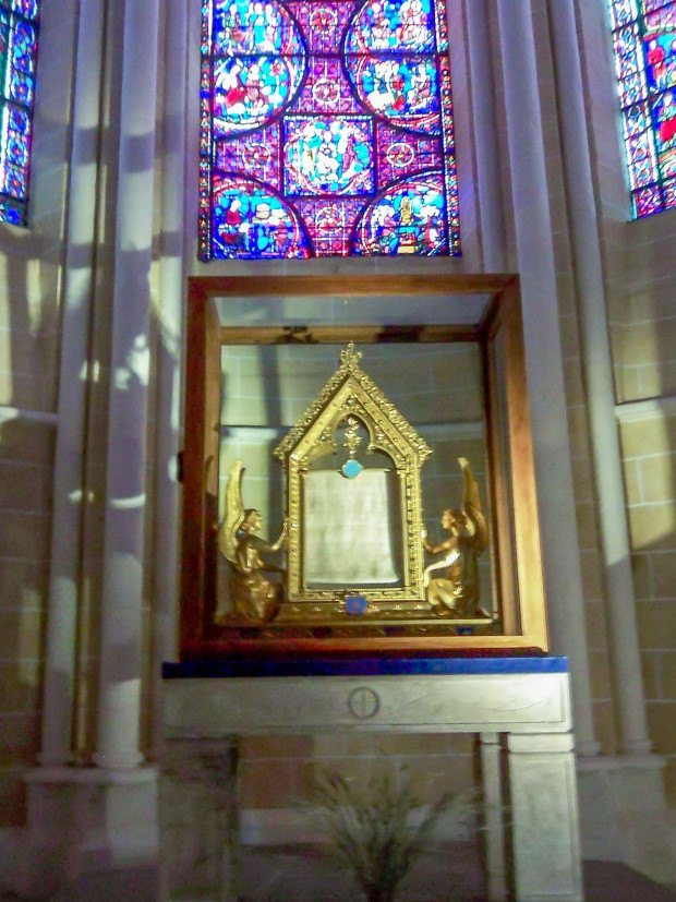Relic reported to be the veil of Mary at Chartres Cathedral France