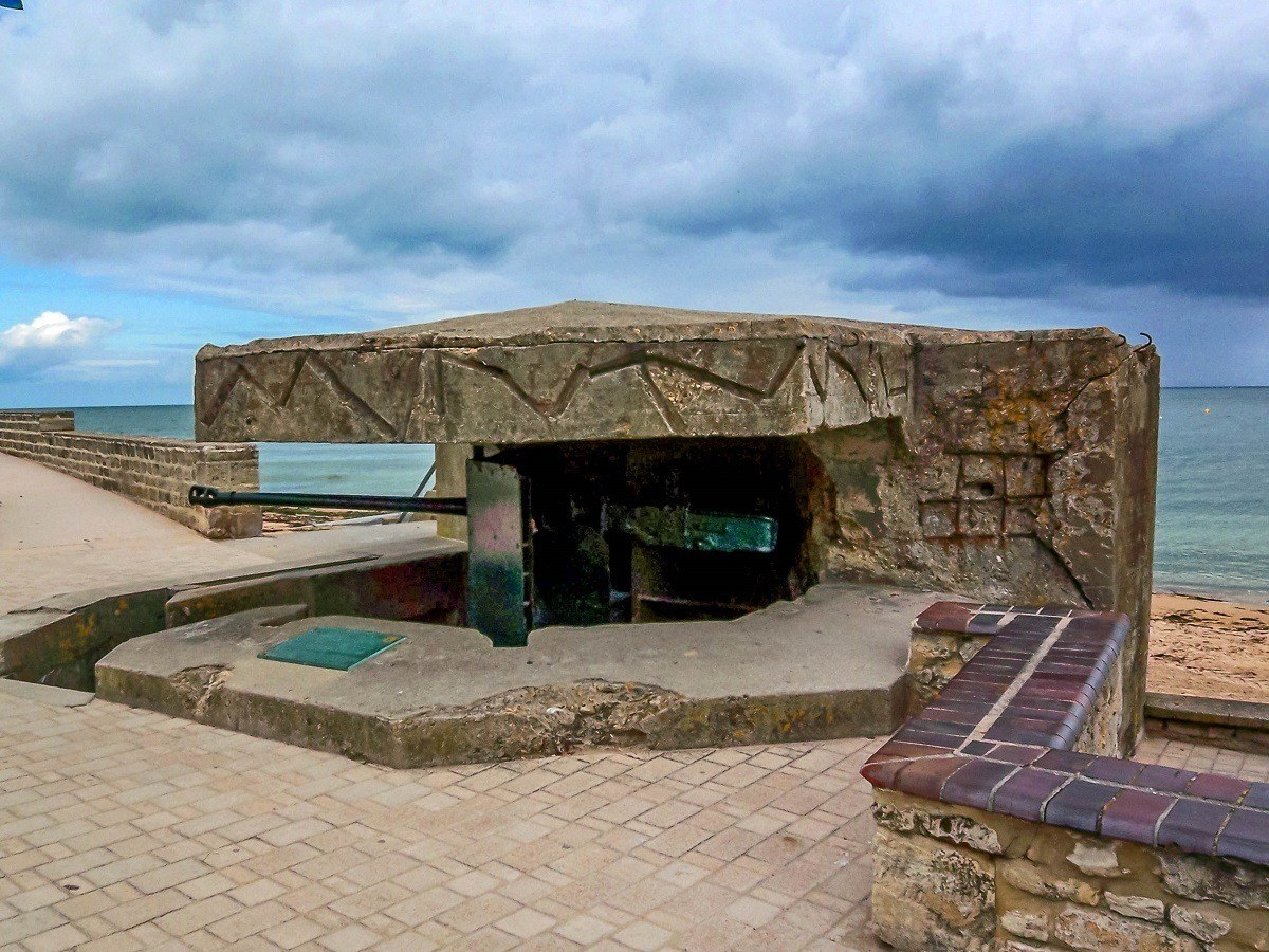 A gun placement along the French coast above one of the beaches of Normandy. The gun placements are a frequent stop on D-Day Normandy tours.