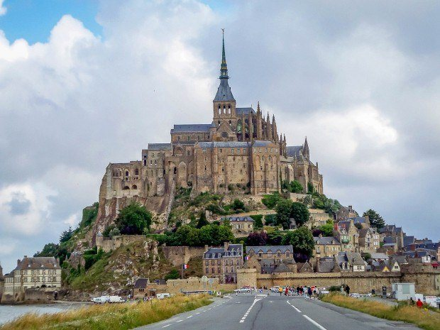 The view of Mont Saint-Michel from the causeway.