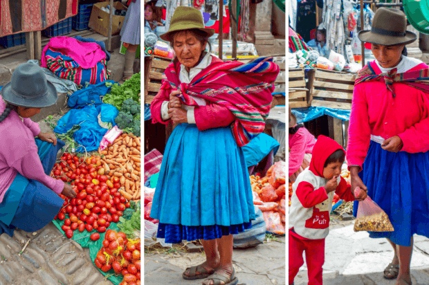 Shoppers and vendors at the Pisac market