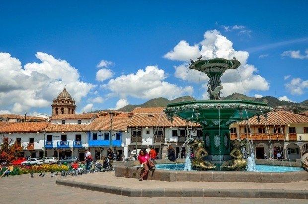 Visiting the Plaza de Armas on a Cusco walking tour.