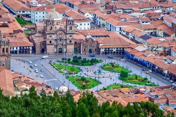 The Plaze de Armas in Cusco from above.