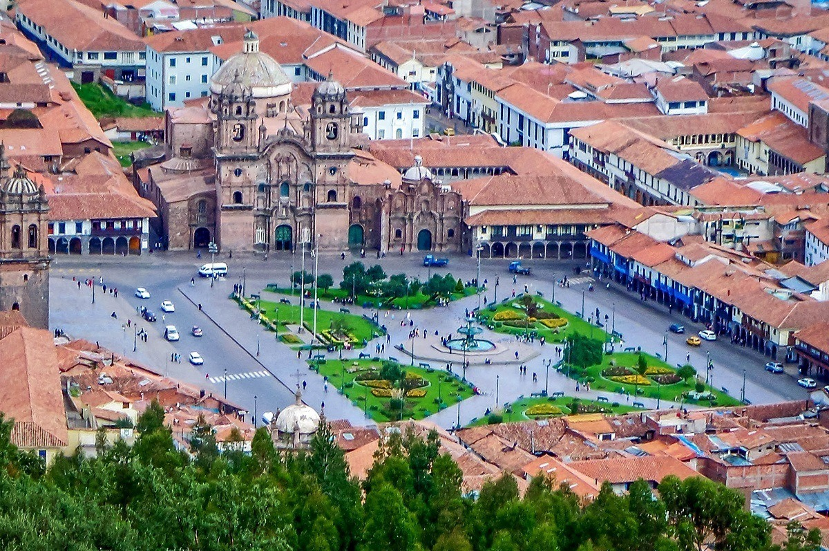The Plaze de Armas in Cusco from above