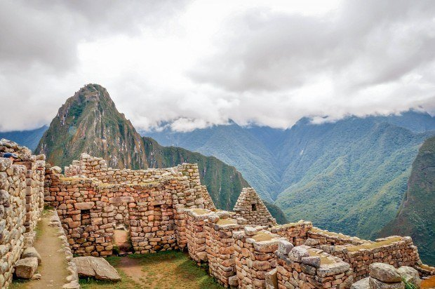 Stone buildings at Machu Picchu in Peru