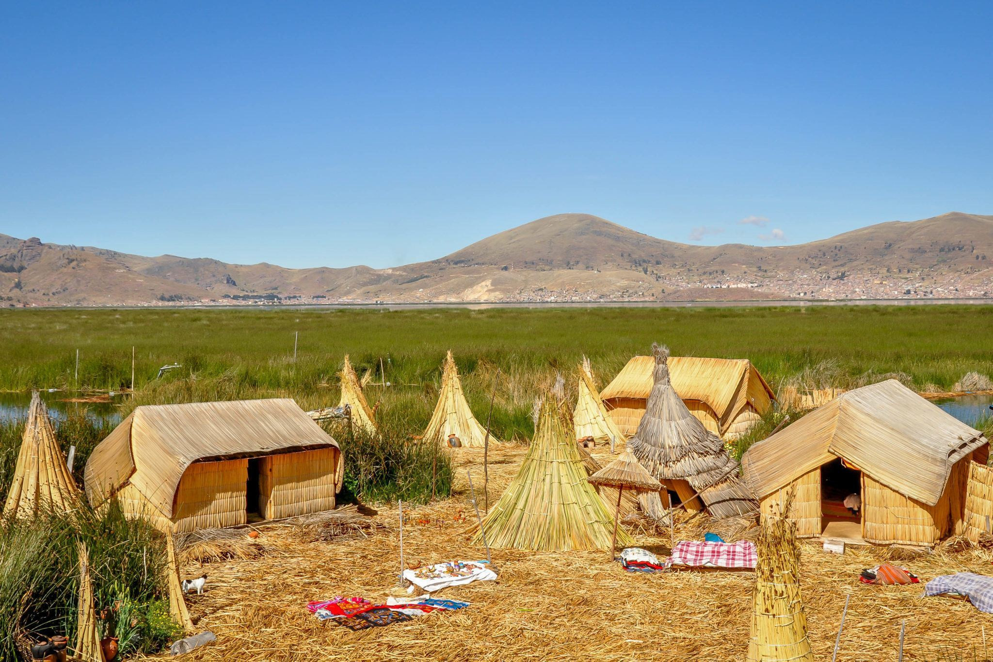Community on the floating Uros Islands in Lake Titicaca