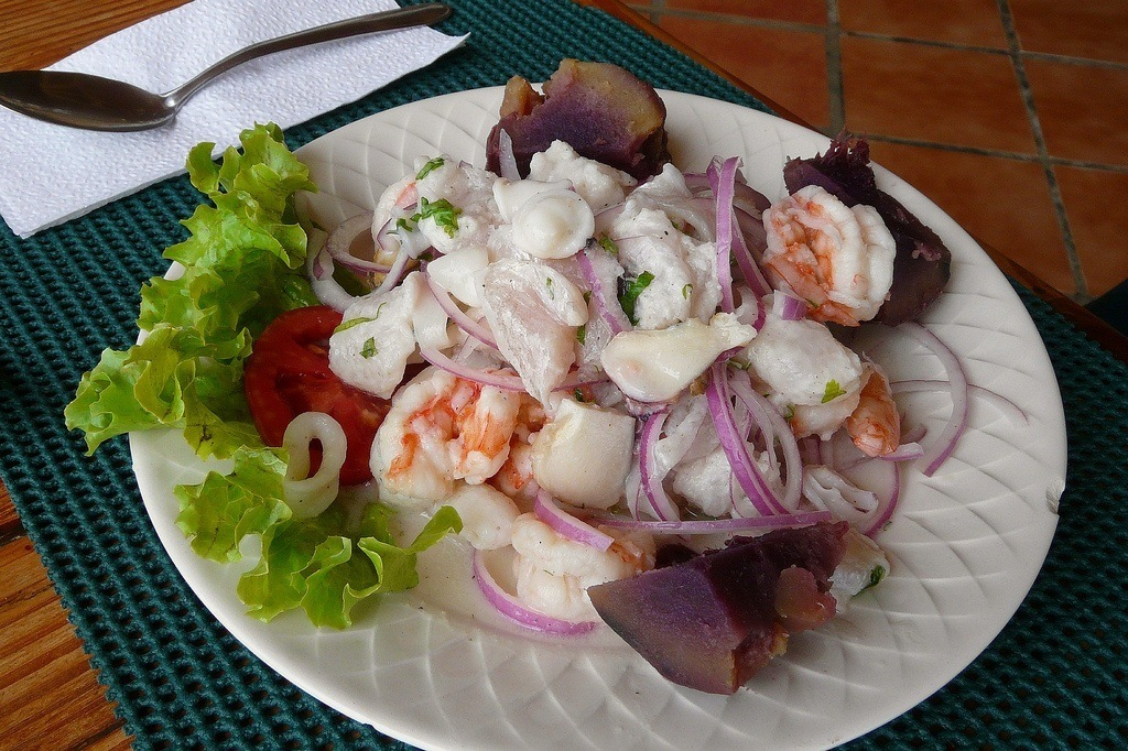 Plate of seafood ceviche