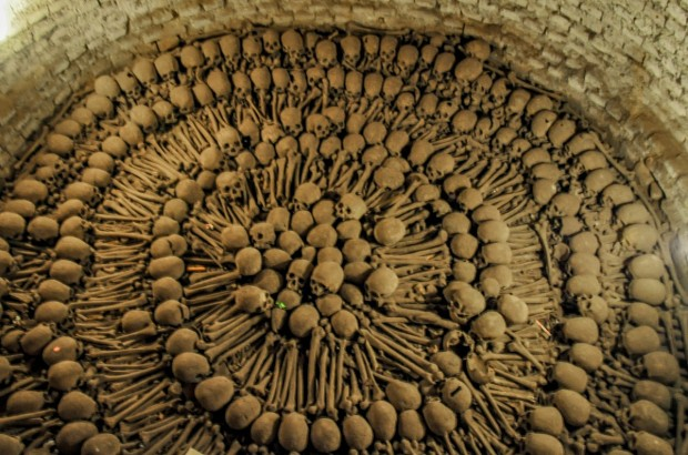 Visiting the catacombs at the Monastery of San Francisco is one of the creepiest things to do in Lima
