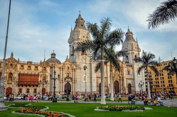 Cathedral of Lima on Plaza Mayor inb Lima, Peru