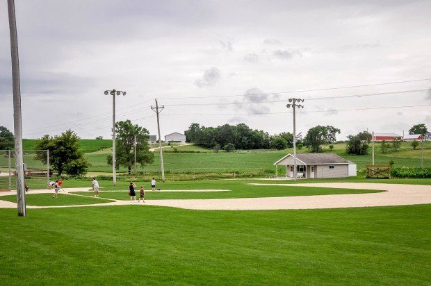 People come to play baseball on the diamond at the Field of Dreams location in Dyersville, Iowa.
