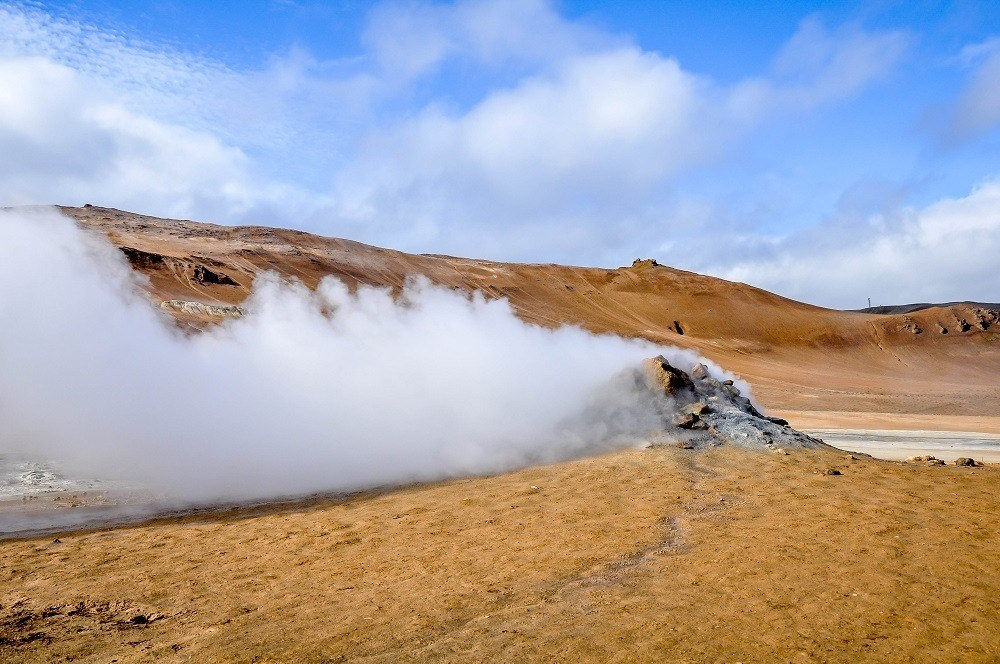 A steam vent at Hverir near the boiling mud pits