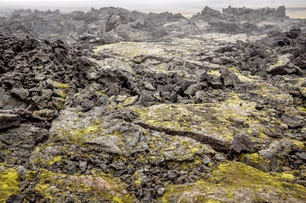 Old lava flow with cracks and fissures