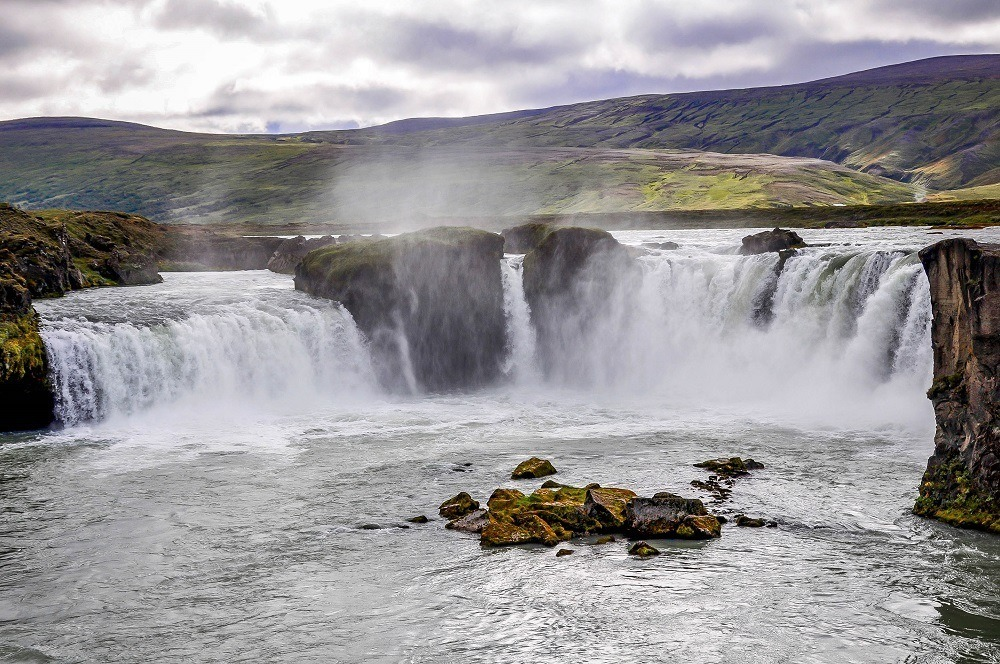 Godafoss, a very large waterfall in Iceland