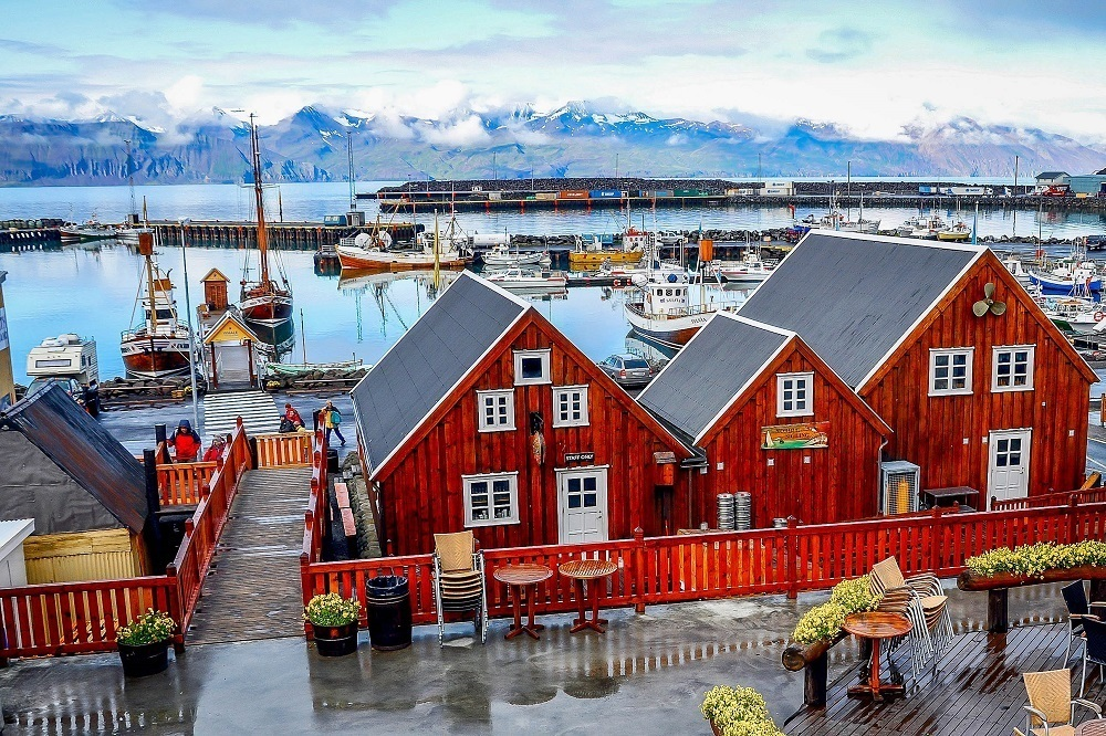 The harbor and wooden buildings in Husavik