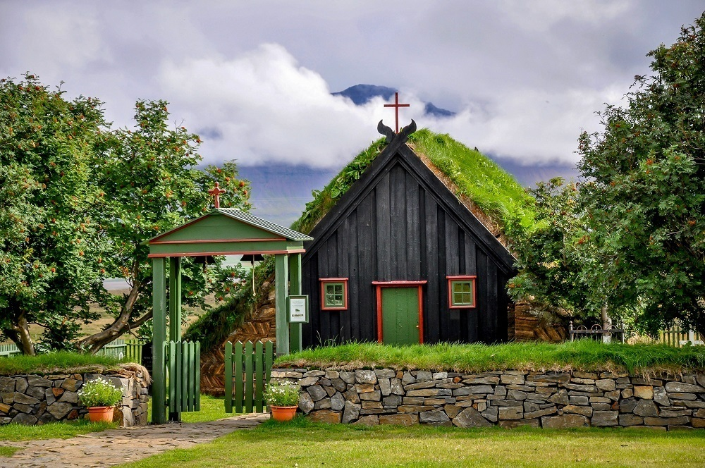 A turf church in Iceland