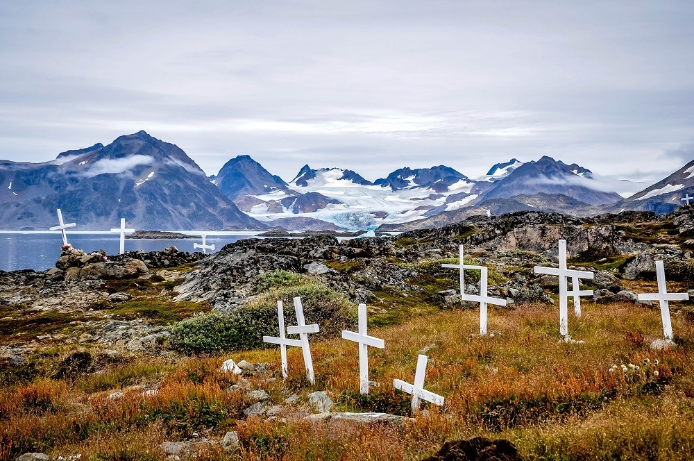 Crosses mark the Kulusuk, Greenland cemetery